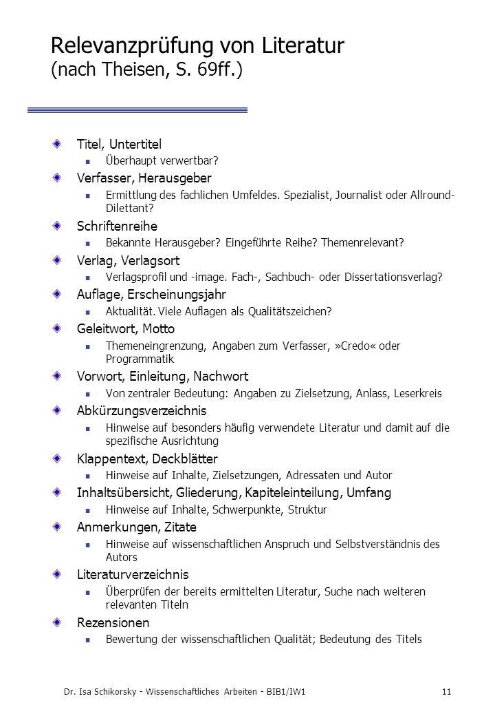 Relevanzprüfung von Literatur (nach Theisen, S. 69ff.)