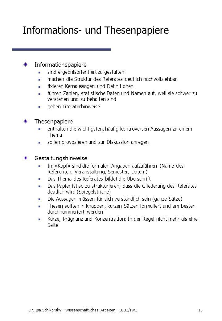 Informations- und Thesenpapiere