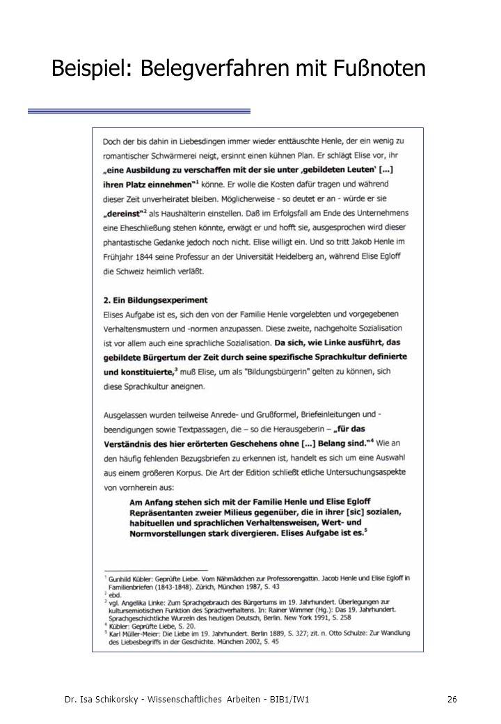 Beispiel: Belegverfahren mit Fußnoten