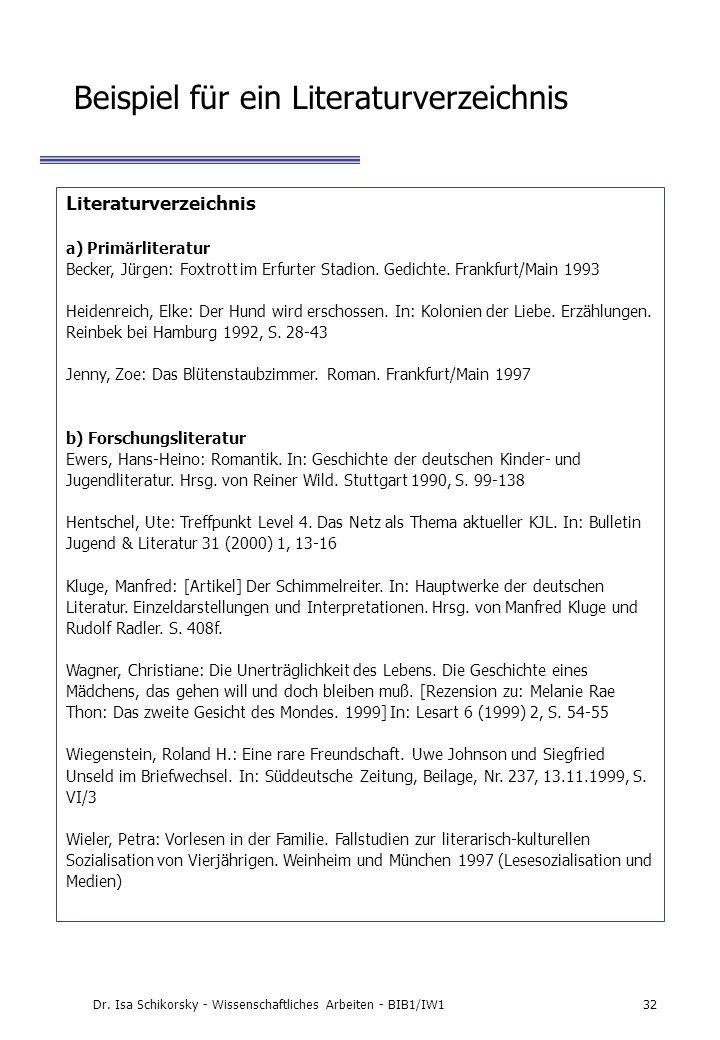 Beispiel für ein Literaturverzeichnis