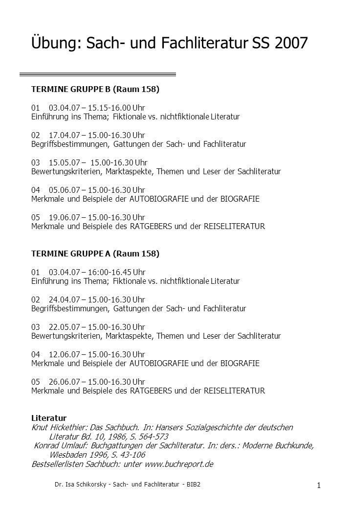 Übung: Sach- und Fachliteratur SS 2007