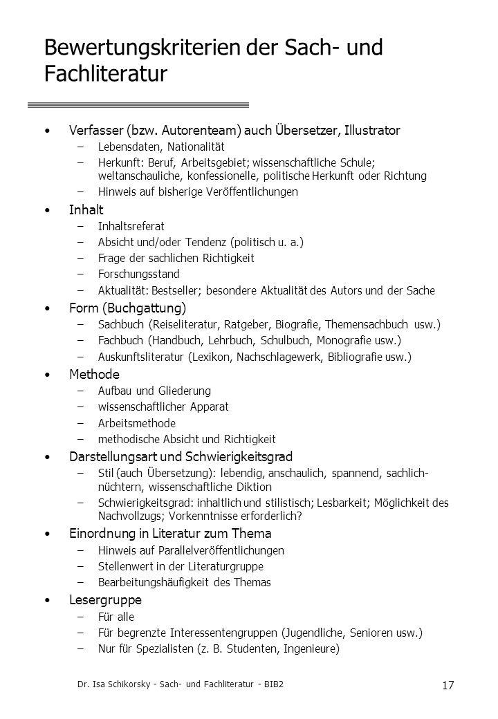 Bewertungskriterien der Sach- und Fachliteratur