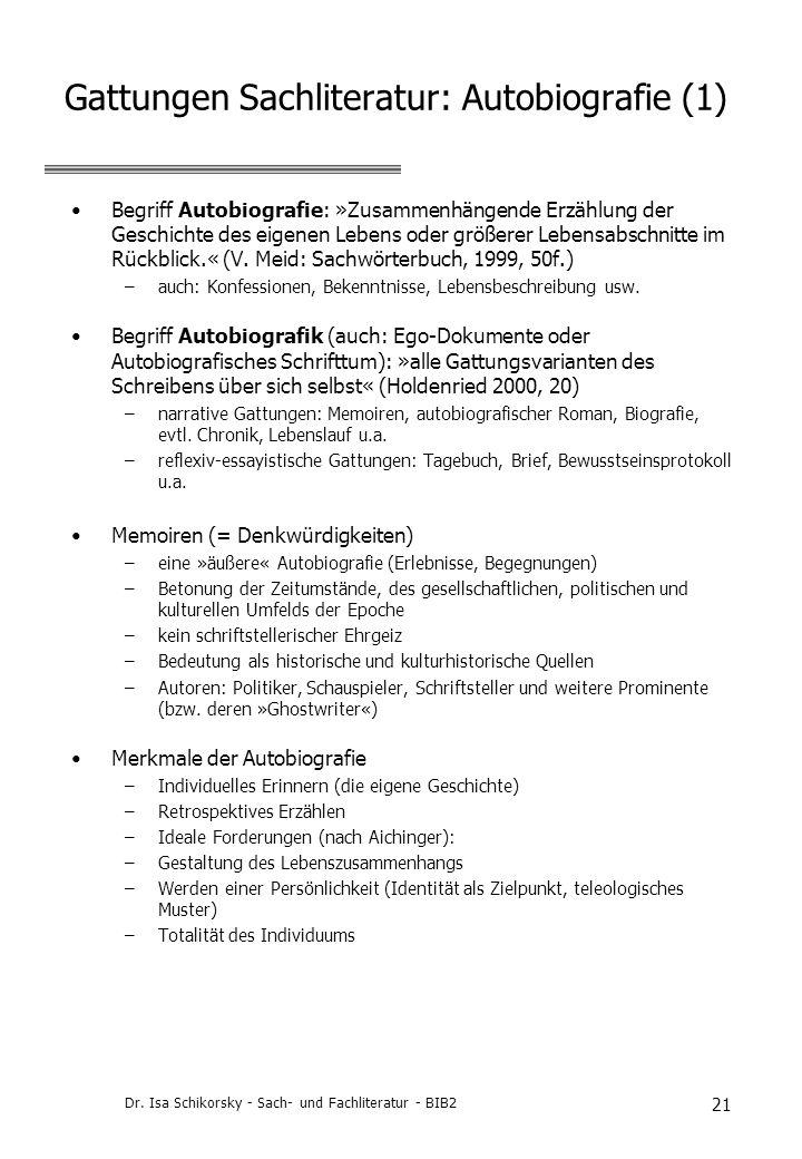 Gattungen Sachliteratur: Autobiografie (1)