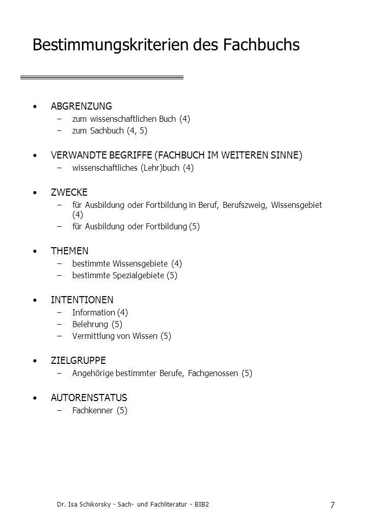 Bestimmungskriterien des Fachbuchs