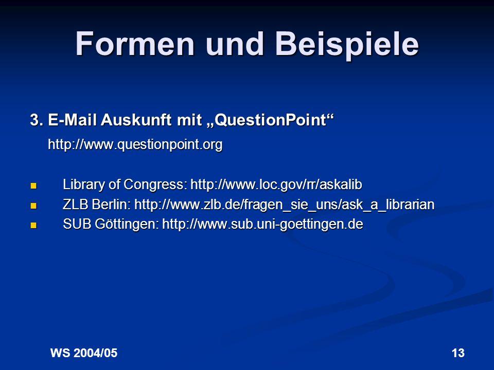 """Formen und Beispiele 3. E-Mail Auskunft mit """"QuestionPoint"""