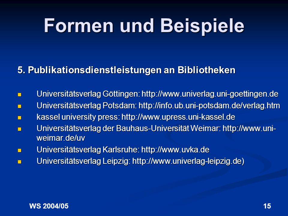 Formen und Beispiele 5. Publikationsdienstleistungen an Bibliotheken
