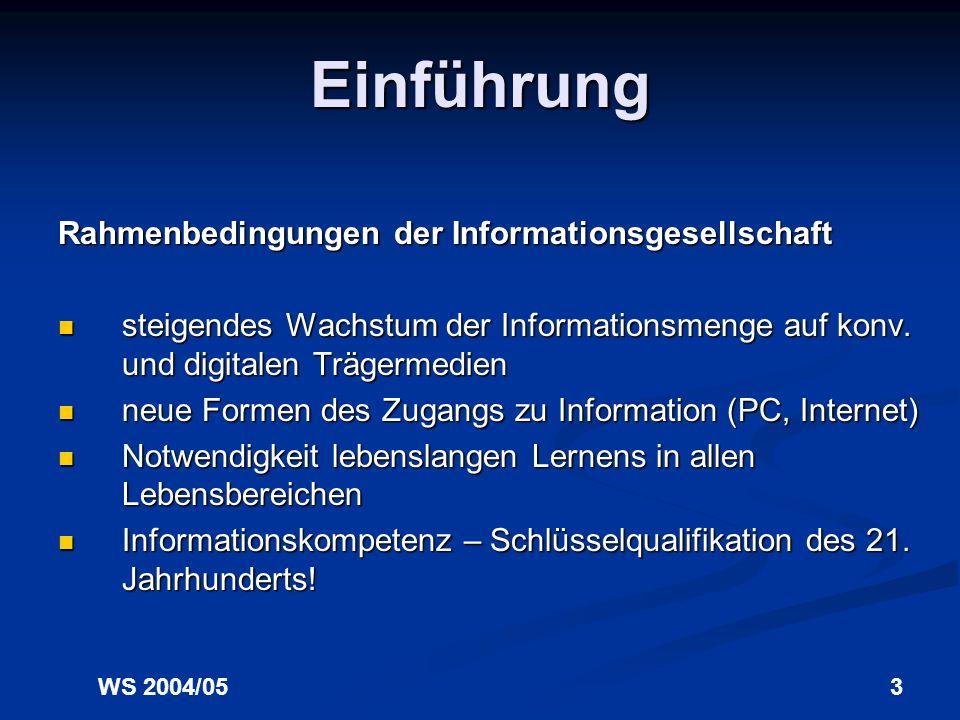 Einführung Rahmenbedingungen der Informationsgesellschaft