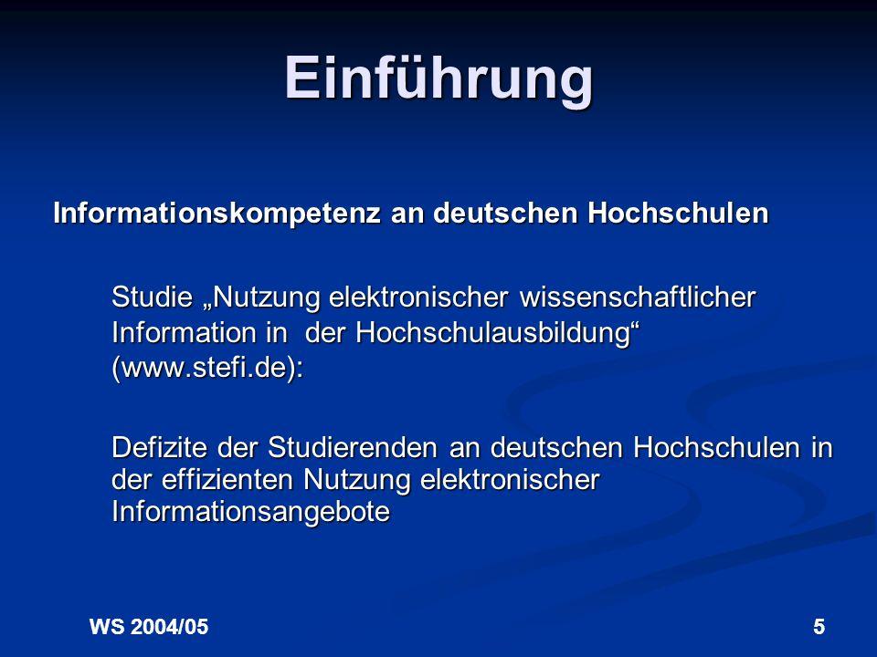 Einführung Informationskompetenz an deutschen Hochschulen