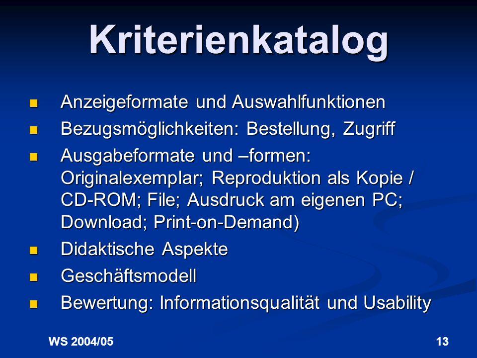 Kriterienkatalog Anzeigeformate und Auswahlfunktionen