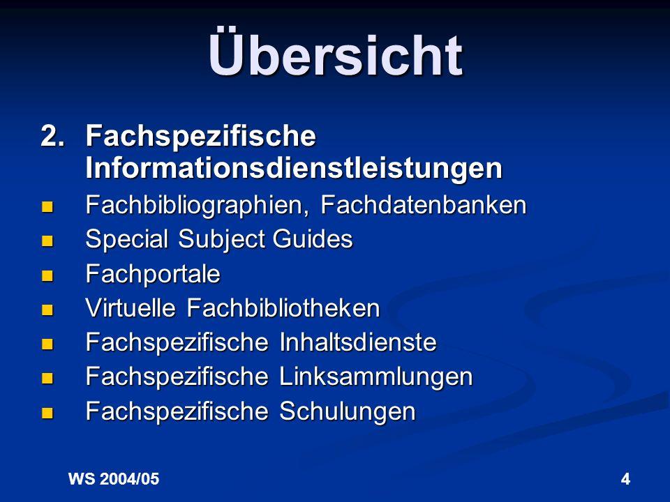 Übersicht 2. Fachspezifische Informationsdienstleistungen