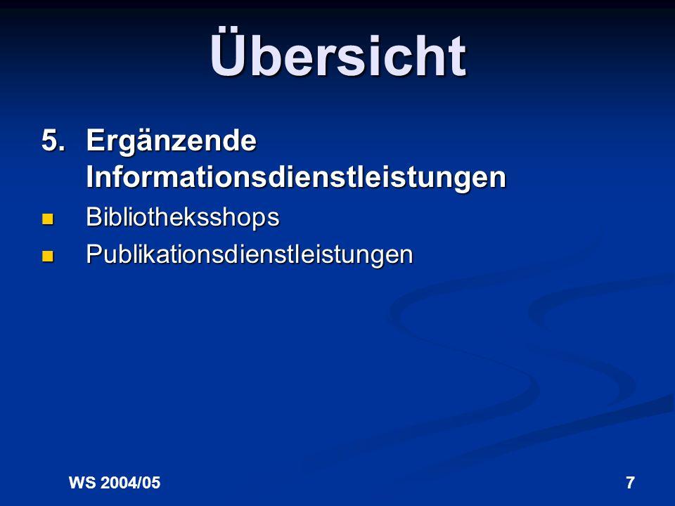 Übersicht 5. Ergänzende Informationsdienstleistungen Bibliotheksshops