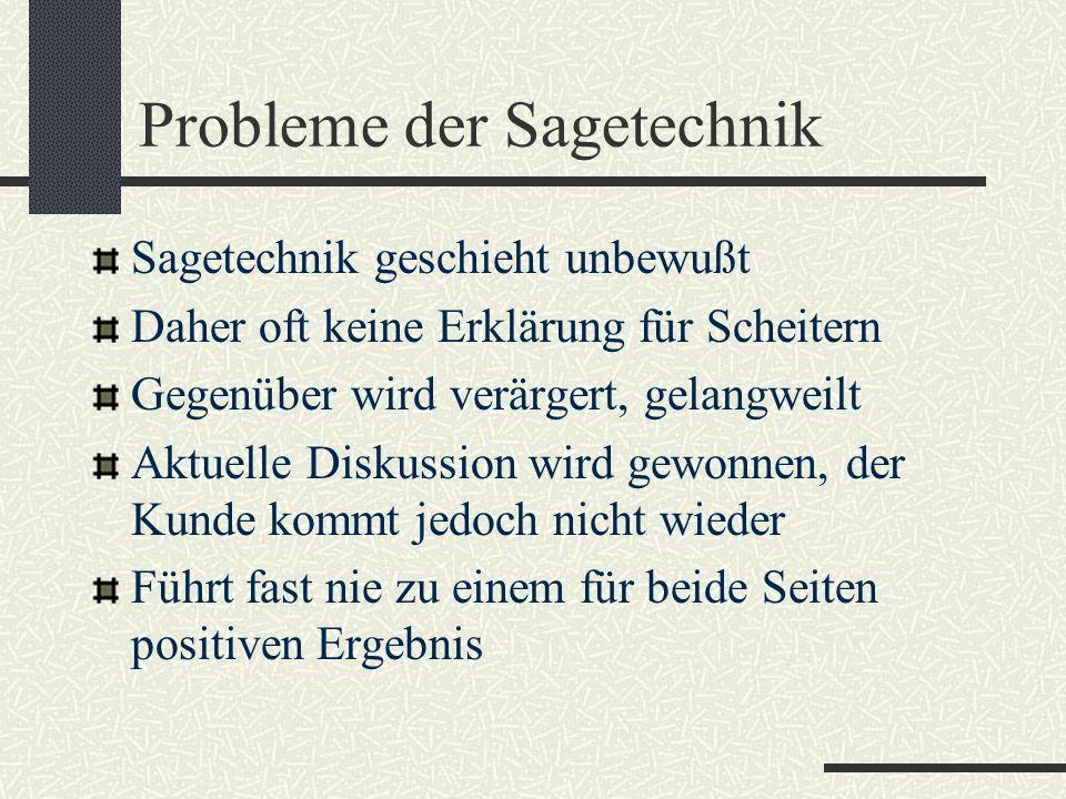 Probleme der Sagetechnik