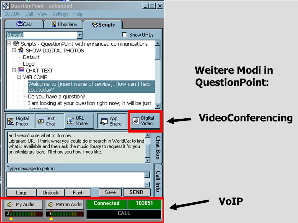 Weitere Modi in QuestionPoint: VideoConferencing VoIP