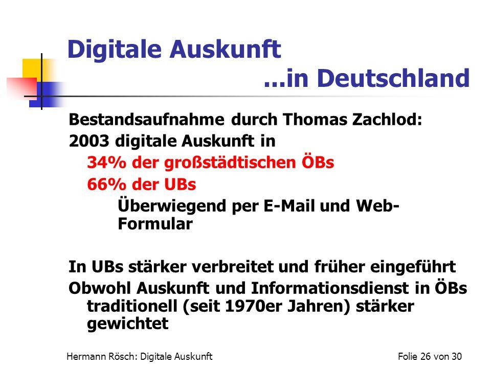 Digitale Auskunft ...in Deutschland