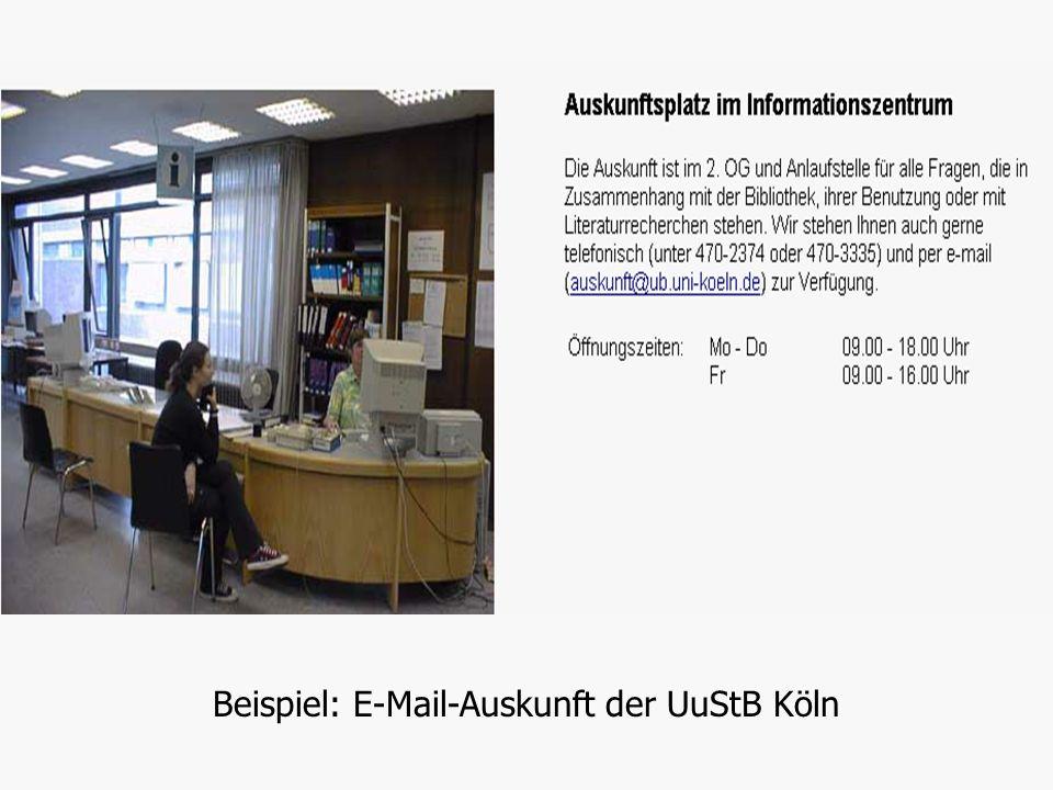 Beispiel: E-Mail-Auskunft der UuStB Köln