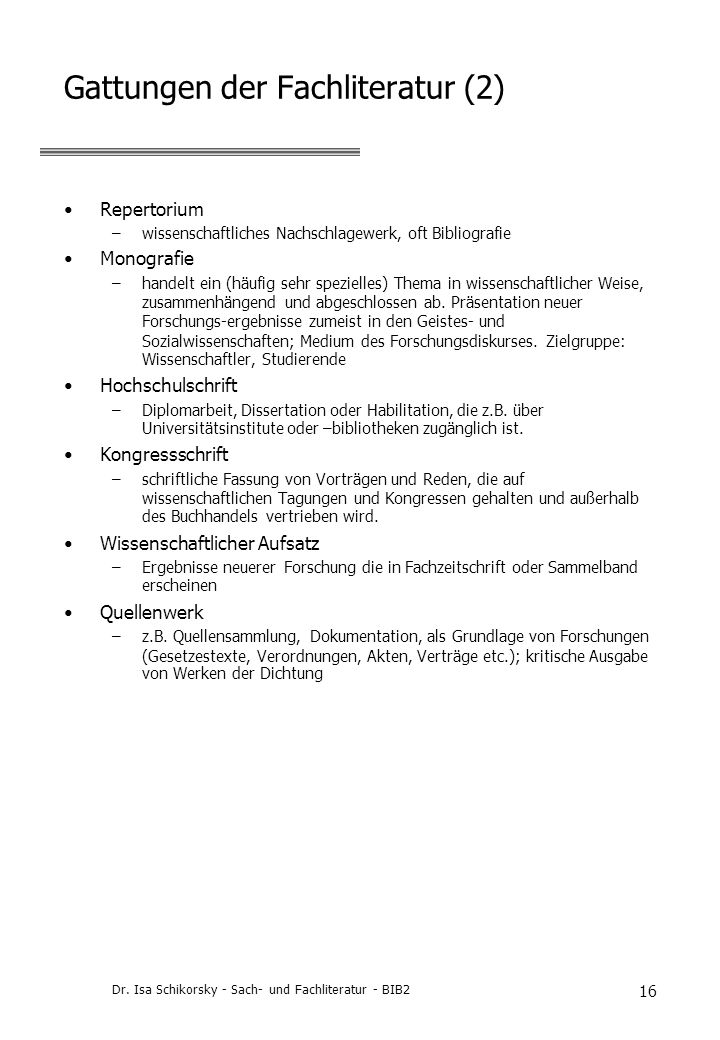 Gattungen der Fachliteratur (2)
