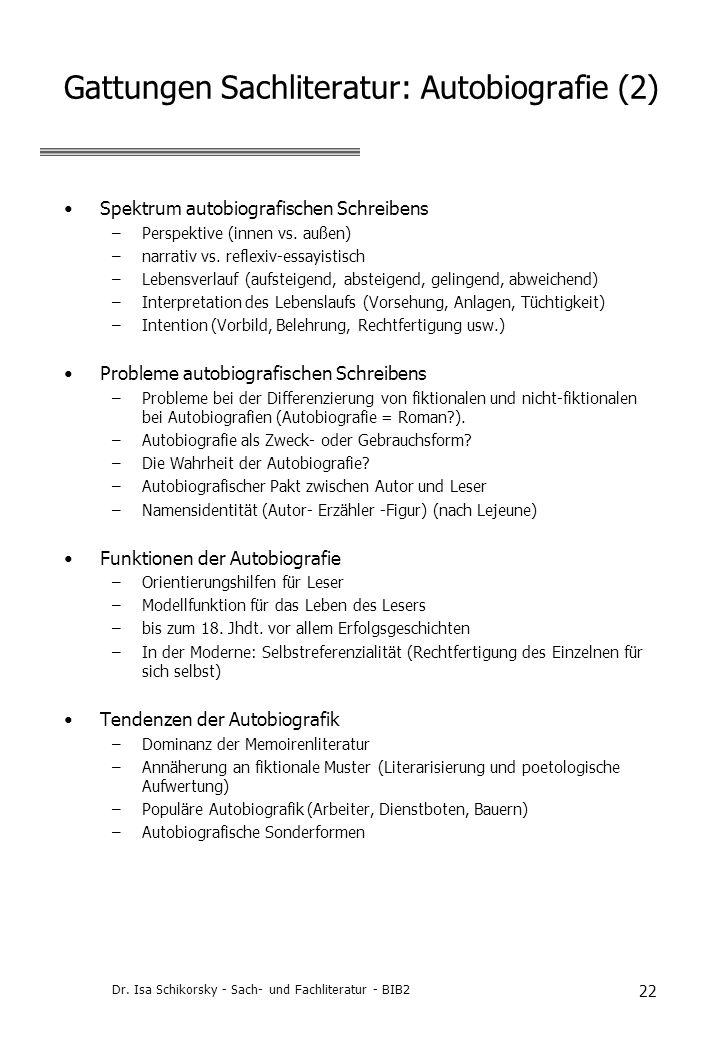 Gattungen Sachliteratur: Autobiografie (2)