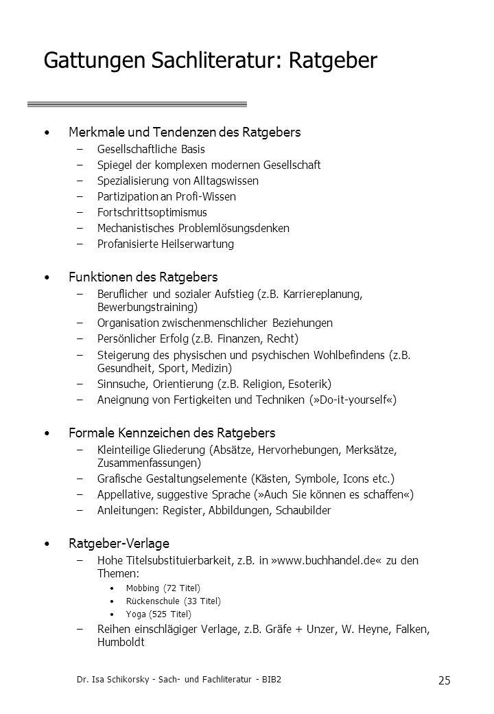Gattungen Sachliteratur: Ratgeber