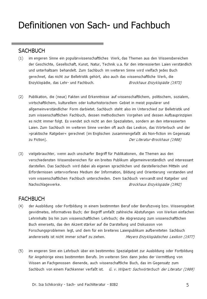 Definitionen von Sach- und Fachbuch