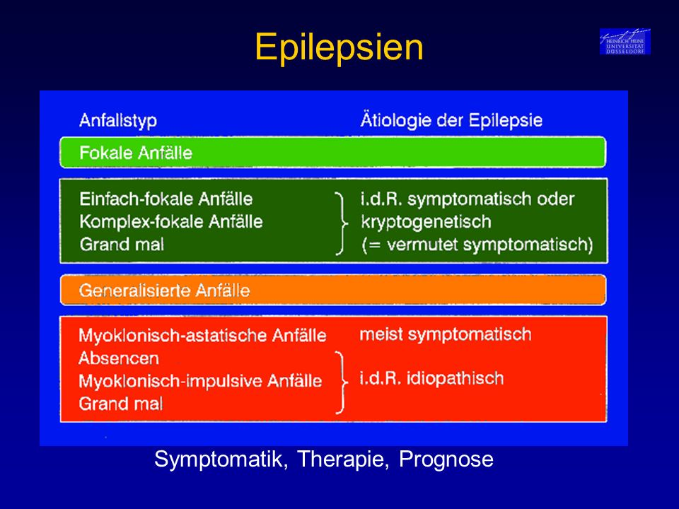 Epilepsien Symptomatik, Therapie, Prognose