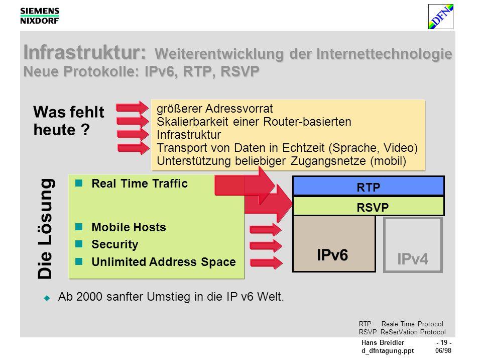 Infrastruktur: Weiterentwicklung der Internettechnologie Neue Protokolle: IPv6, RTP, RSVP