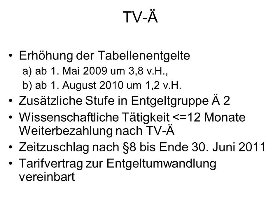TV-Ä Erhöhung der Tabellenentgelte