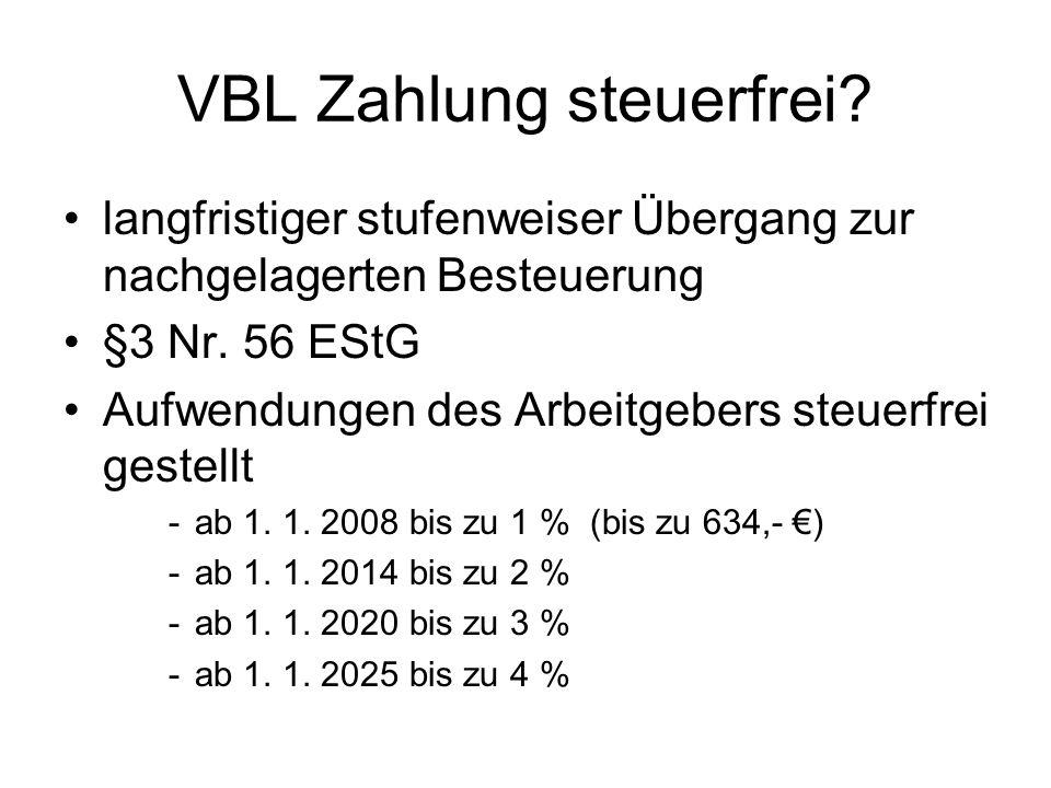 VBL Zahlung steuerfrei