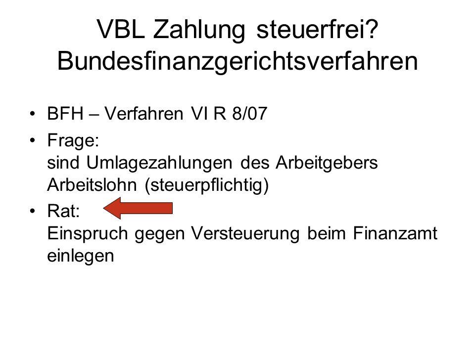 VBL Zahlung steuerfrei Bundesfinanzgerichtsverfahren