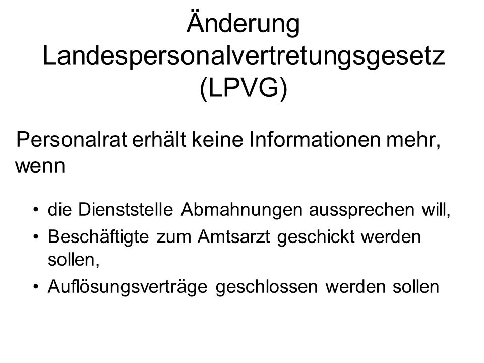 Änderung Landespersonalvertretungsgesetz (LPVG)
