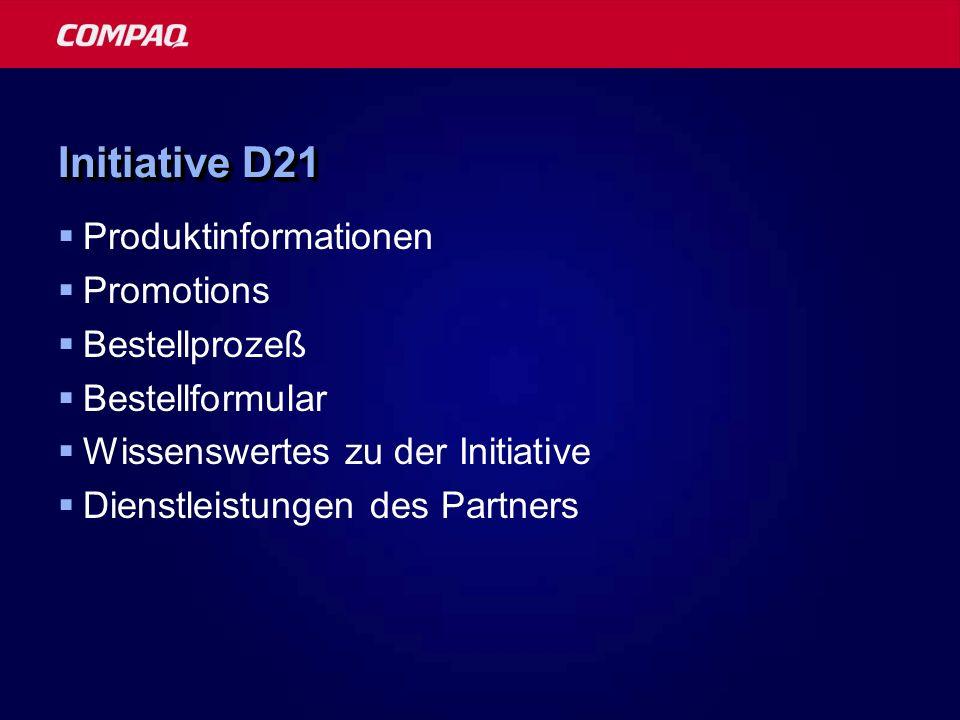 Initiative D21 Produktinformationen Promotions Bestellprozeß