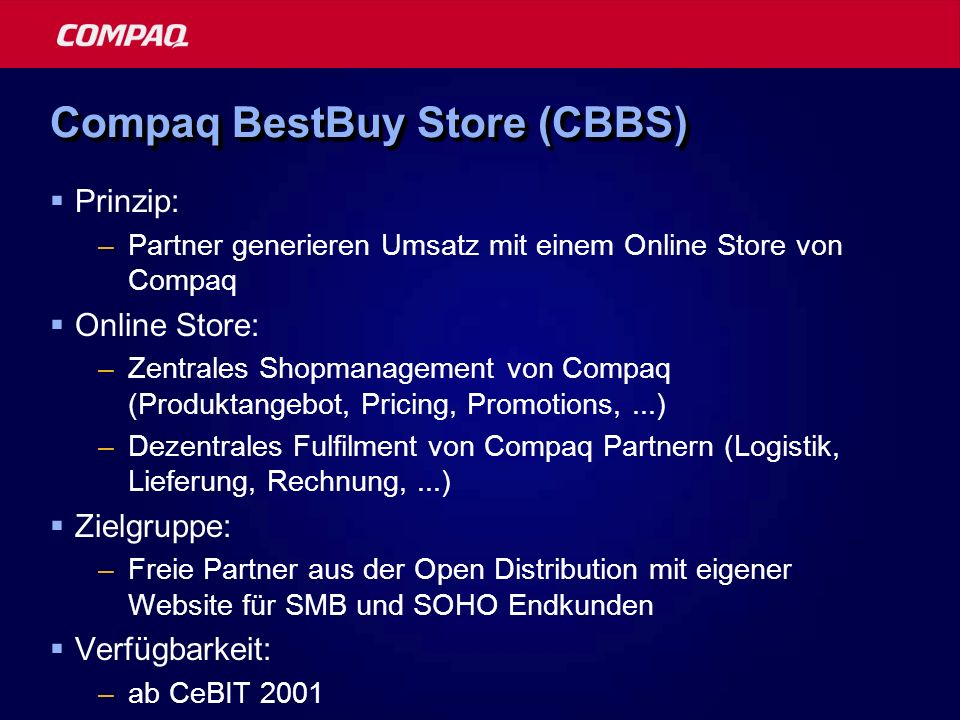 Compaq BestBuy Store (CBBS)