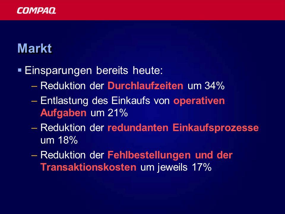 Markt Einsparungen bereits heute: Reduktion der Durchlaufzeiten um 34%