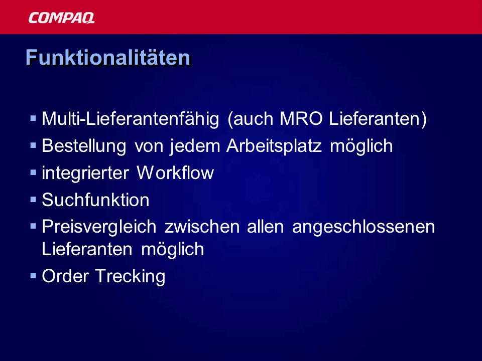 Funktionalitäten Multi-Lieferantenfähig (auch MRO Lieferanten)