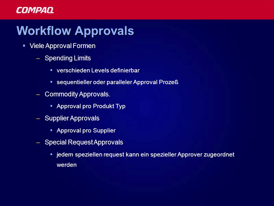 Workflow Approvals Viele Approval Formen Spending Limits