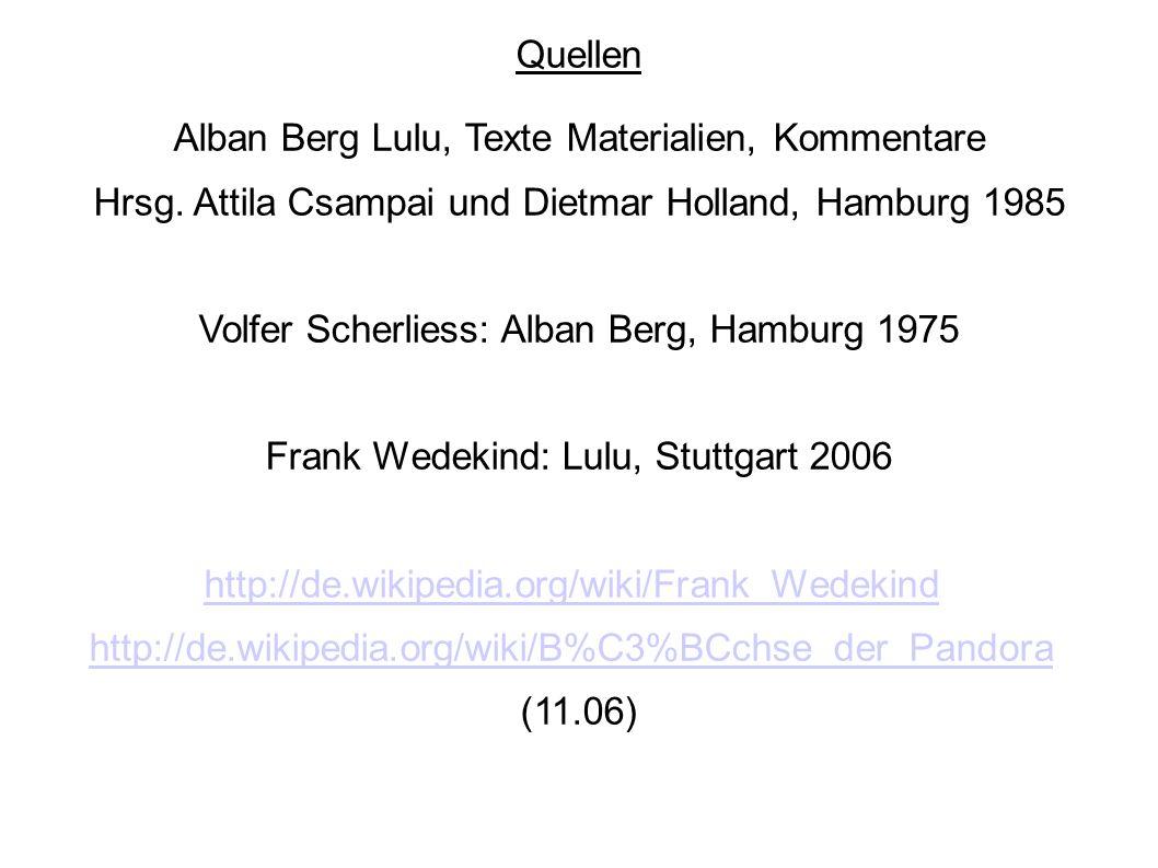 Alban Berg Lulu, Texte Materialien, Kommentare