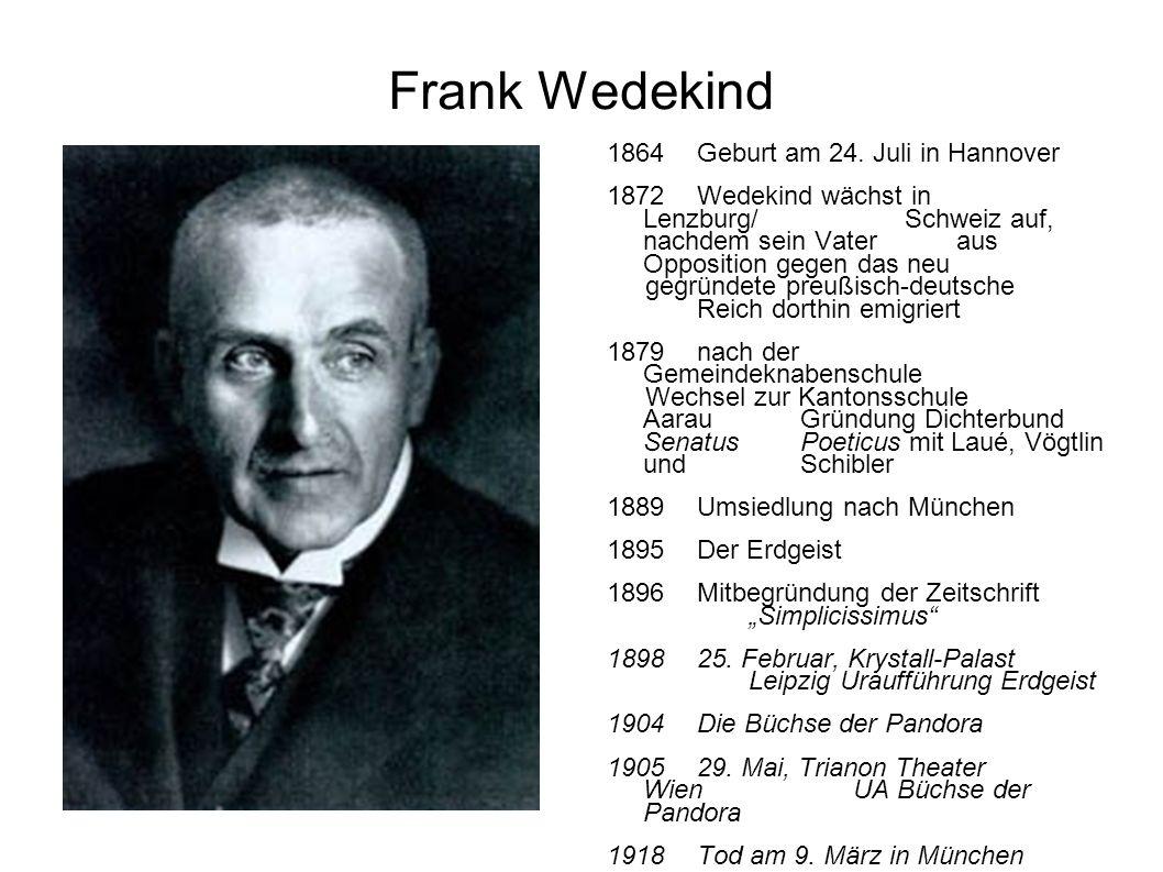 Frank Wedekind 1864 Geburt am 24. Juli in Hannover