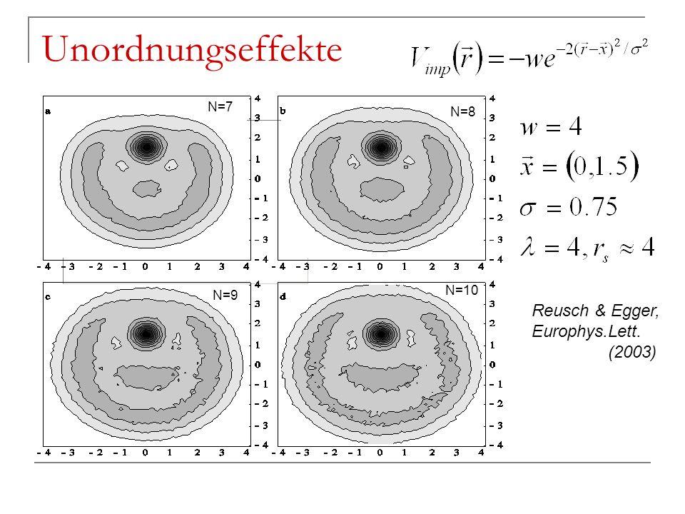 Unordnungseffekte Reusch & Egger, Europhys.Lett. (2003) N=7 N=8 N=10