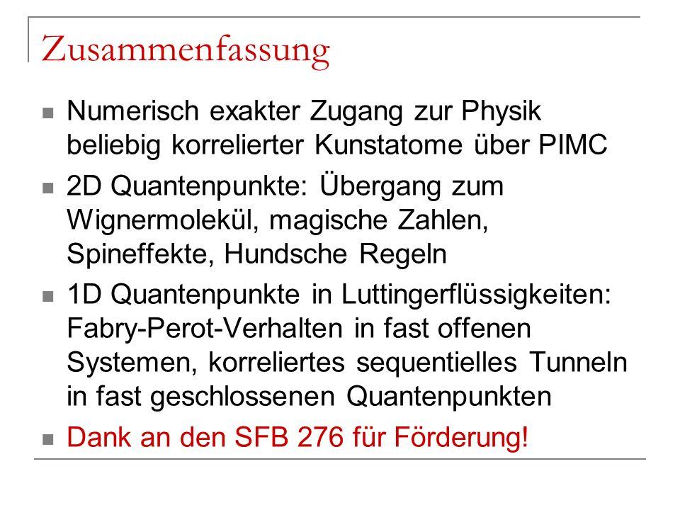 Zusammenfassung Numerisch exakter Zugang zur Physik beliebig korrelierter Kunstatome über PIMC.