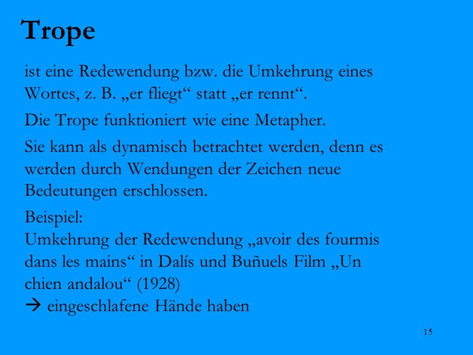 """Trope ist eine Redewendung bzw. die Umkehrung eines Wortes, z. B. """"er fliegt statt """"er rennt . Die Trope funktioniert wie eine Metapher."""