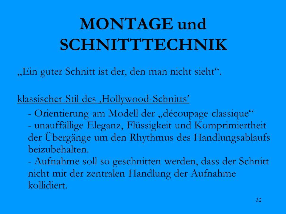 MONTAGE und SCHNITTTECHNIK