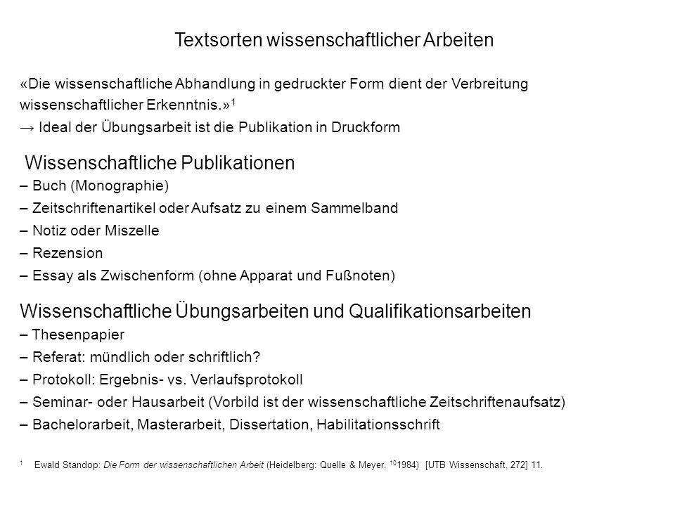 Textsorten wissenschaftlicher Arbeiten