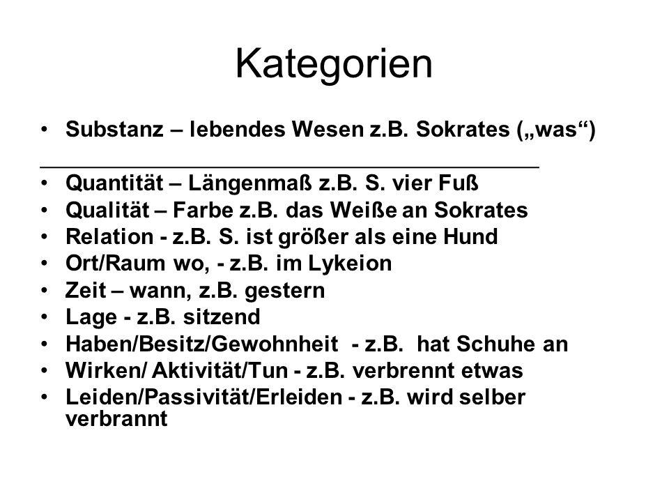 "Kategorien Substanz – lebendes Wesen z.B. Sokrates (""was )"