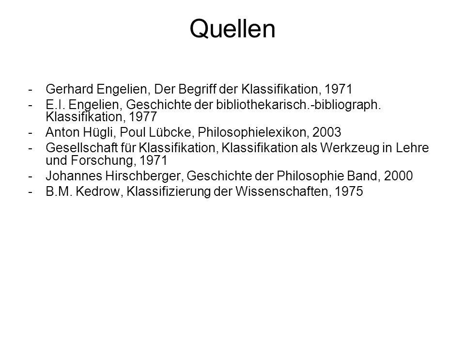 Quellen Gerhard Engelien, Der Begriff der Klassifikation, 1971