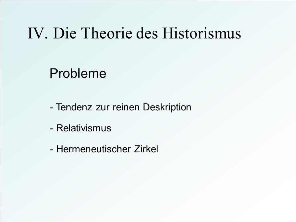 IV. Die Theorie des Historismus