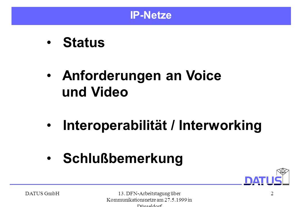 Anforderungen an Voice und Video Interoperabilität / Interworking