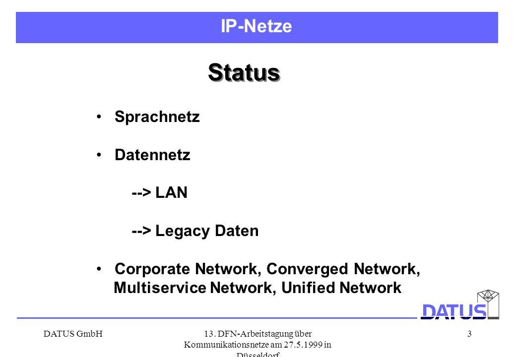 Status IP-Netze Sprachnetz Datennetz --> LAN --> Legacy Daten