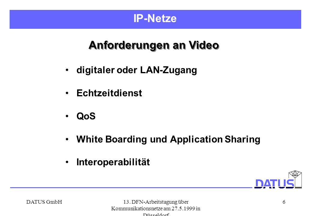 Anforderungen an Video