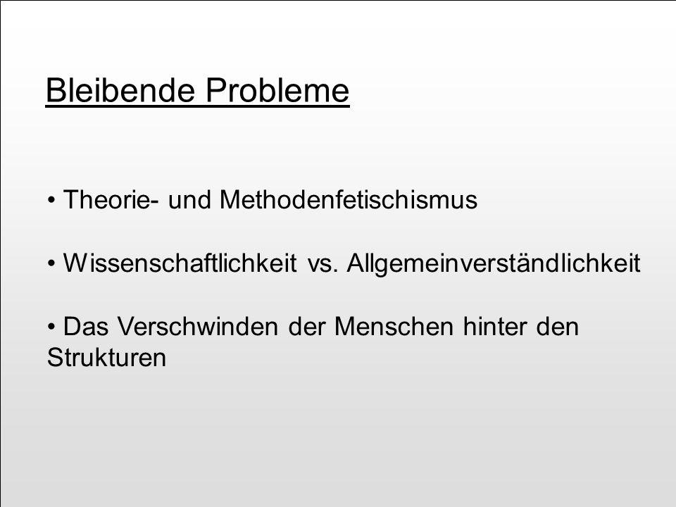 Bleibende Probleme Theorie- und Methodenfetischismus