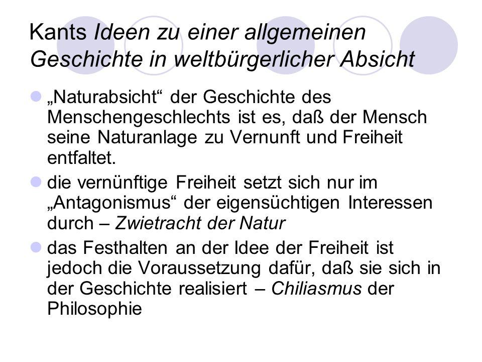 Kants Ideen zu einer allgemeinen Geschichte in weltbürgerlicher Absicht
