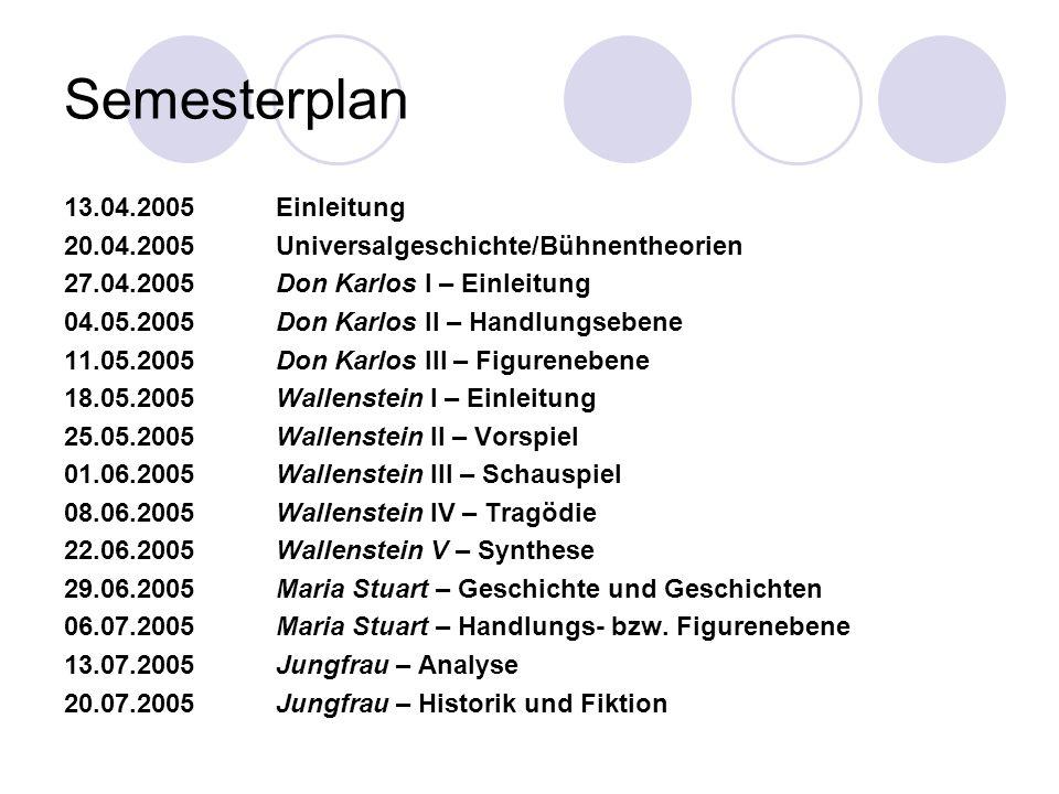 Semesterplan 13.04.2005 Einleitung